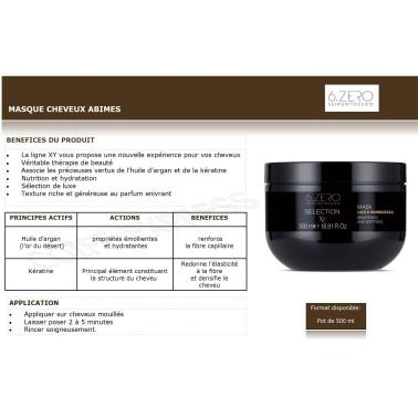 fiche Masque professionnel pour cheveux abimés XY gamme take over 500 ml 6 zero