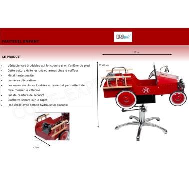 Fiche fauteuil coiffure pour enfant modèle voiture pompier