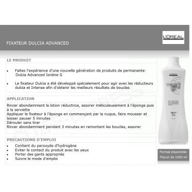 Fiche fixateur permanente spécial boucles dulcia Advanced 1L