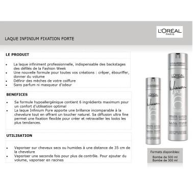 Fiche laque professionnelle cheveux Infinium pure fixation forte l'oréal