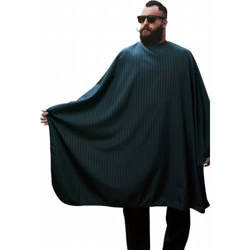Poncho homme, cape barbier rayures noires et blanches