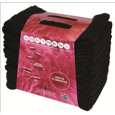 Serviette spéciale salon de coiffure en microfibre noire jacques seban