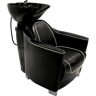 Bac coiffure pour cheveux professionnel. Mobilier pour coiffeur Hornet 1 Place marque Jacques seban coloris noir cuve noire